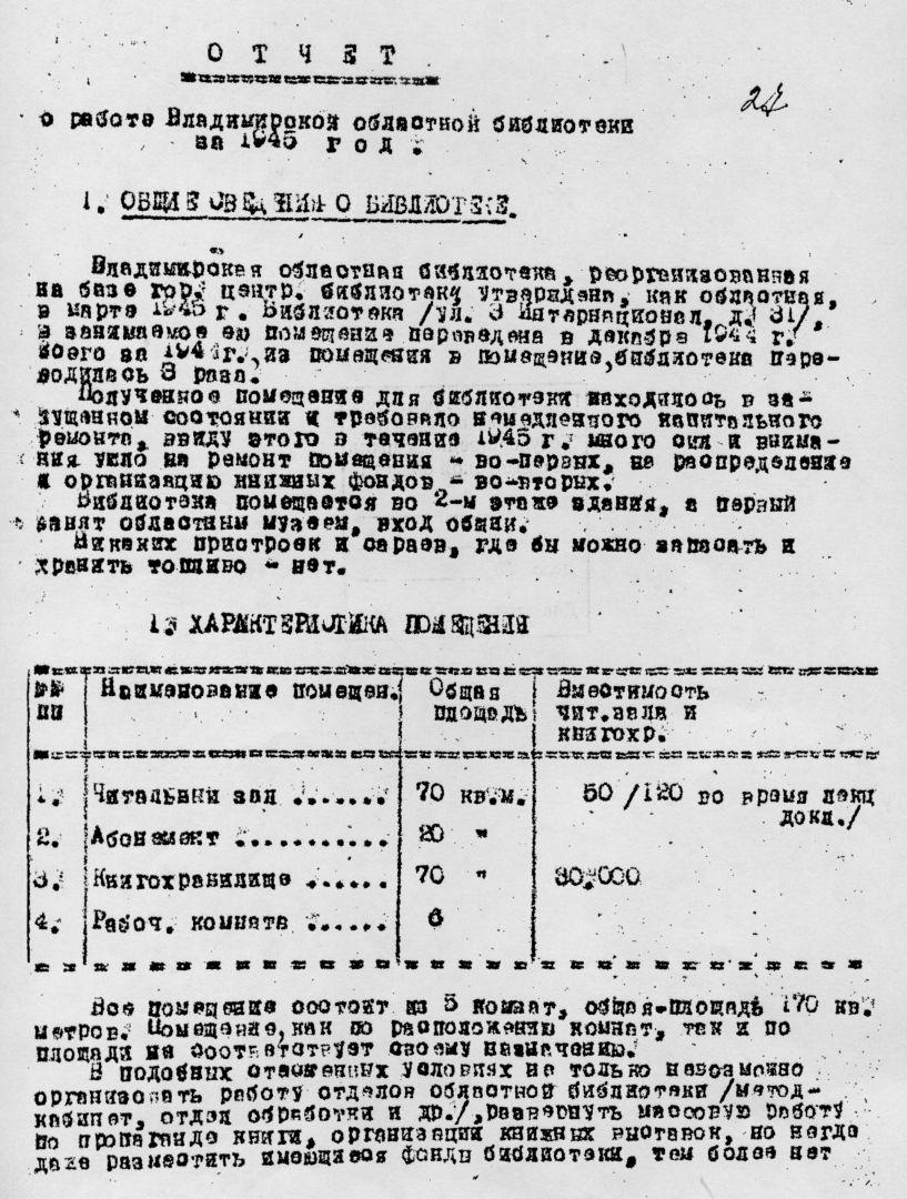 Титульный лист отчета библиотеки за 1945