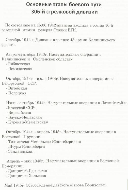 Основные этапы боевого пути 306-й стрелковой дивизии