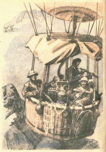 """Иллюстрация художника П. И. Луганского к роману Верна Ж. """"Пять недель на воздушном шаре""""."""