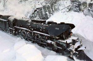 Застрявший в снегу поезд.