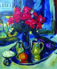 Картина - Розы и фиалки