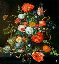 Картина -Цветочный натюрморт с фруктами и устрицами. Художник Ян Давидс де Хем