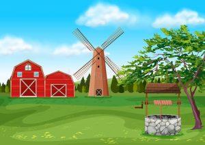 ветряная мельница и амбары