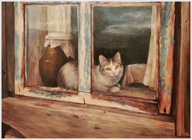 Кот на окне в деревенской избе