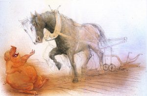 Конь с плугом