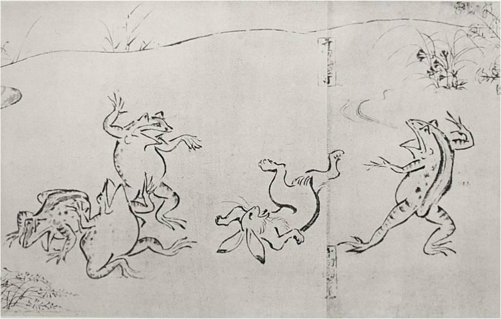Животные занимаются борьбой сумо на свитке