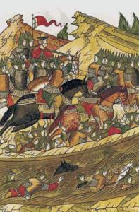 Лицевая хроника. Битва на реке Воже. Изображение воинов в шлемах и кольчугах во время битвы.