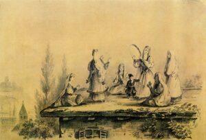 М. Ю. Лермонтов «Грузинки на крыше сакли», графитный карандаш, 1837
