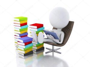 Человечек читает книгу