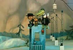 кадр из м/ф Голубой вагон