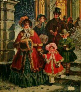британская семья 19 века в рождественской одежде