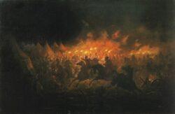 «Битва с факелами», картина Теодора Амана о ночной атаке Влада на Мехмеда II