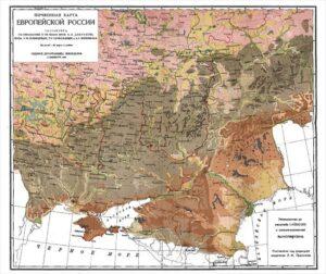 Почвенная карта составлена по инициативе и по плану В. Докучаева, СПб, 1900г.