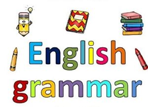 Мастерская по грамматике. надпись на английском языке, карандаши, блокнот и стопка книг