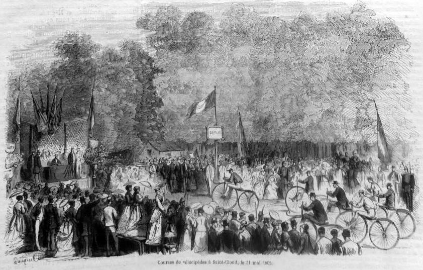 Первая велосипедная гонка в Сен-Клу в 1868 г.