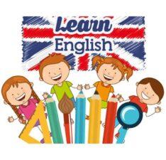 дети на фоне британского флага